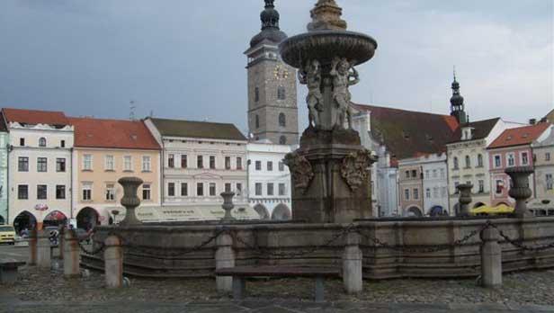Neptune's fountain in Ceske Budejovice, Czech Republic
