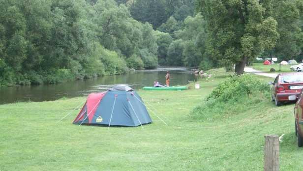 Camping area near the River Vltava at Zlata, Koruna.