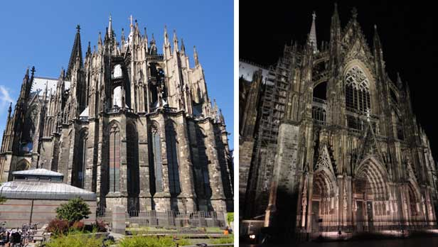 Cologne Dom (cathedral) day and night