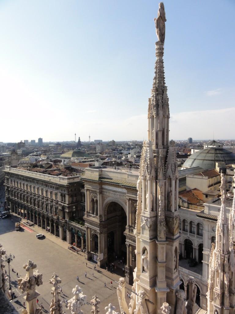 top of El Duomo looking down at the entrance to Galleria Vittorio