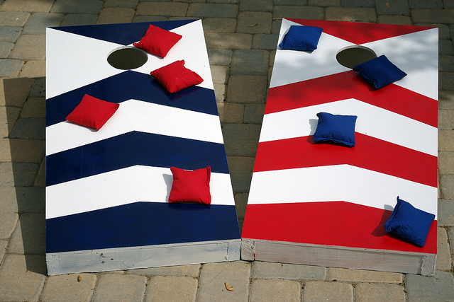 Ready to play cornhole with our homemade set