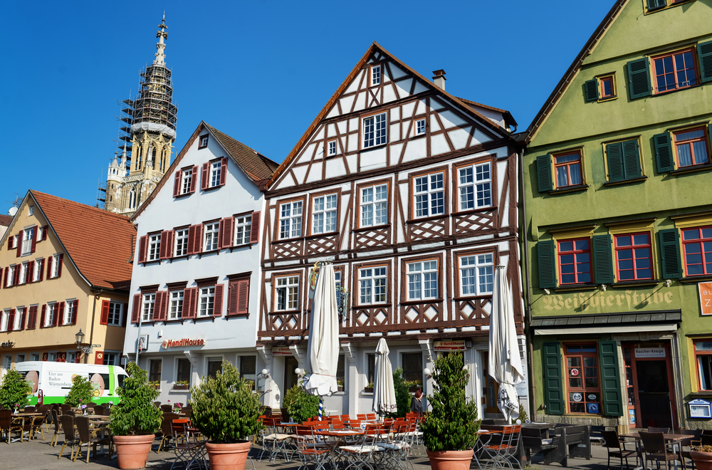 Esslingen old town building and restaurant with chairs outdoor