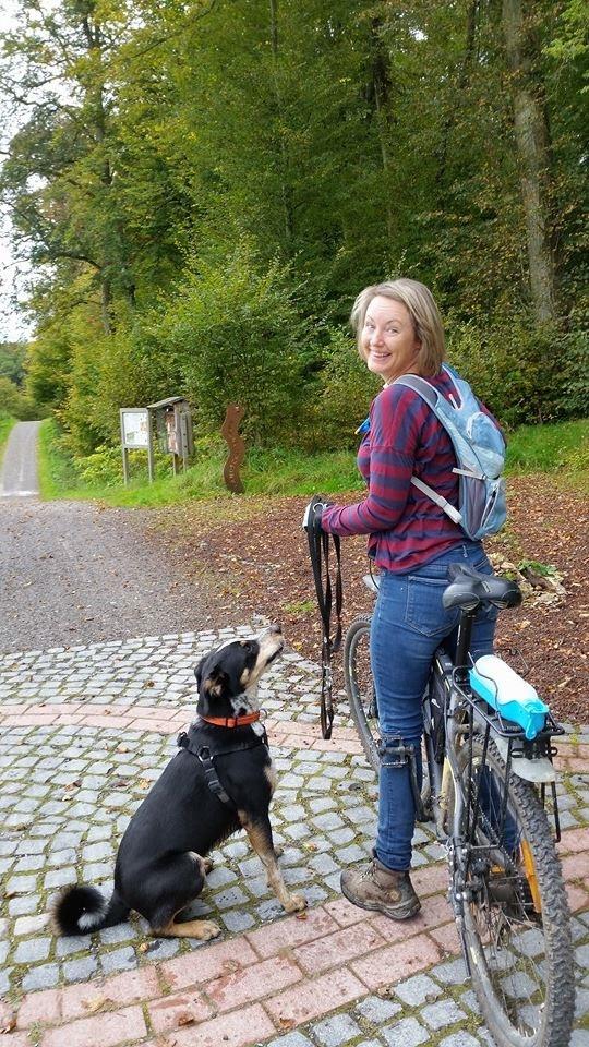 Cycling Lisa and pup