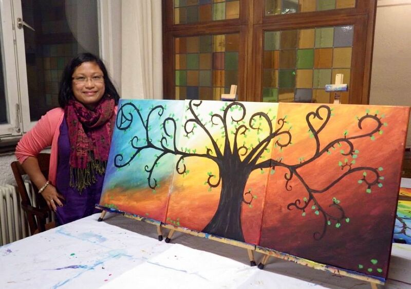 Paint and Sip lady tree finished