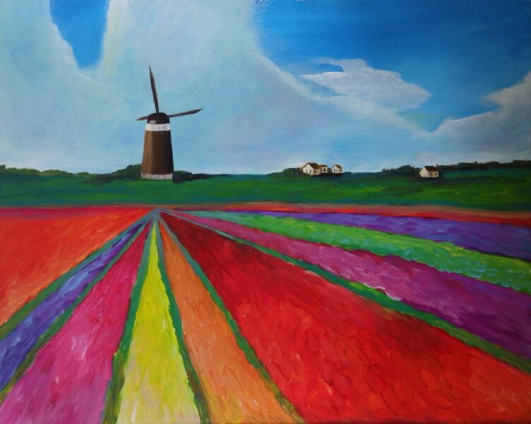 Paint and Sip windmill and fields