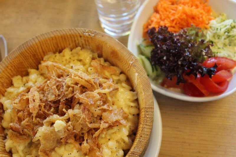 Wendy Austrian Alpine Cheeese Kase Spatzle and Salad