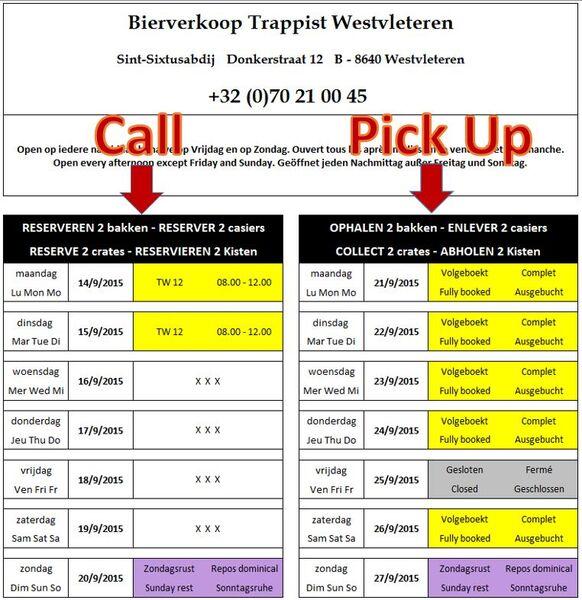 Schedule Wendy Trappist Westvleteren
