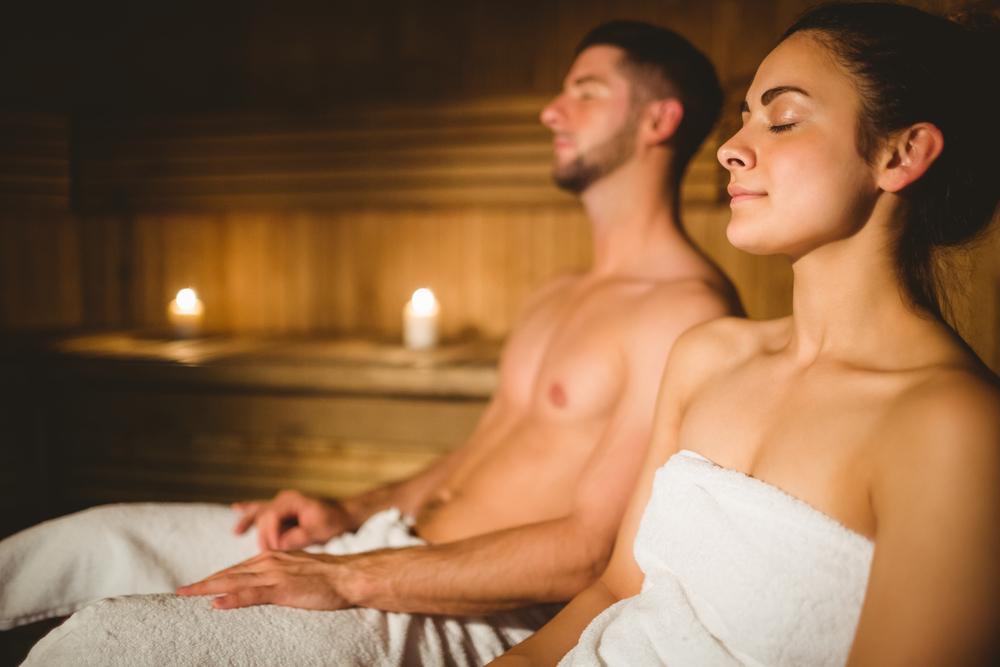 wavebreakmedia Shutter couple in sauna