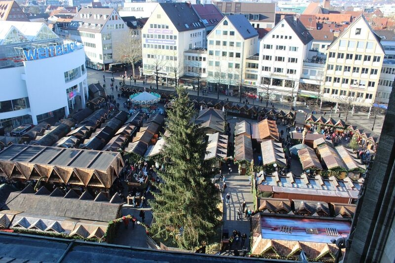 Christmas market from church Wendy The cathedral and city of Ulm