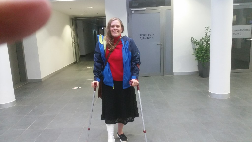 Me on crutches Wendy Heading to Hospital 16